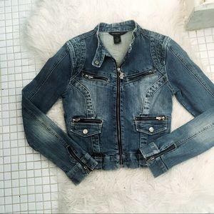 Rocawear Ribbed Jean Zip Up Jacket